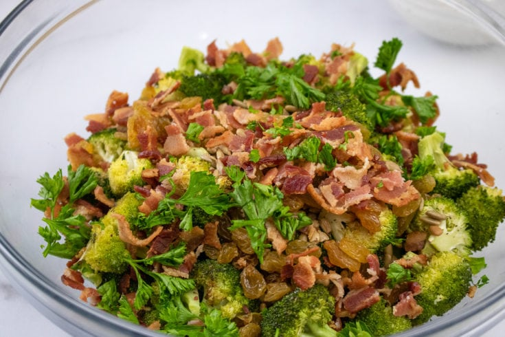 Broccoli Salad and Raisins Roasted - Made with a Delicious Yogurt Dressing